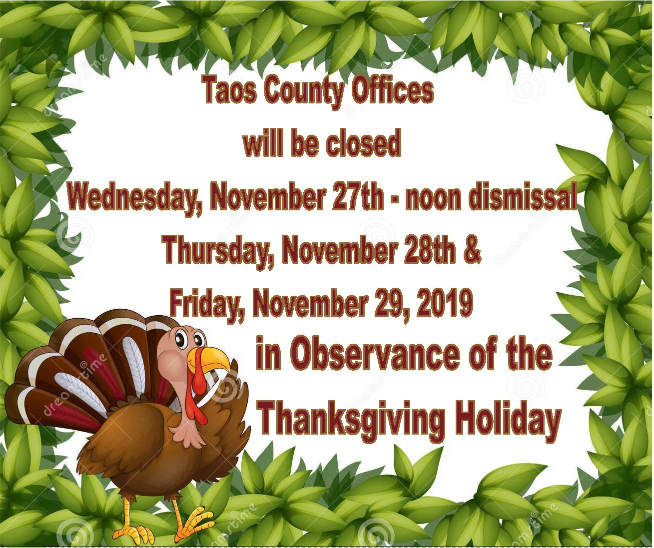 County Closure for Observance of Thanksgiving Holiday